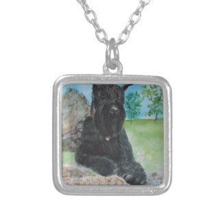 Black Giant Schnauzer Silver Plated Necklace