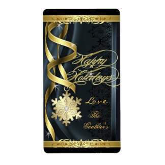 Black Gilded Snowflake Dreams Holiday Wine Label Shipping Label