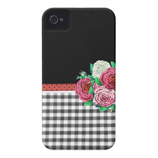 Black Gingham and flowers iPhone 4 Case-Mate Case