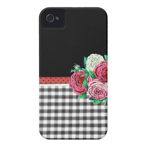 Black Gingham and flowers Blackberry Bold Covers