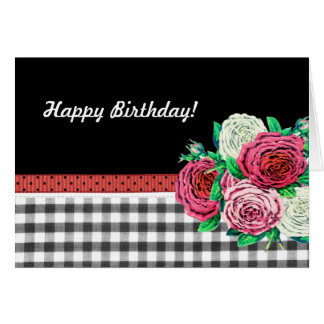 Black Gingham and flowers Happy Birthday Card