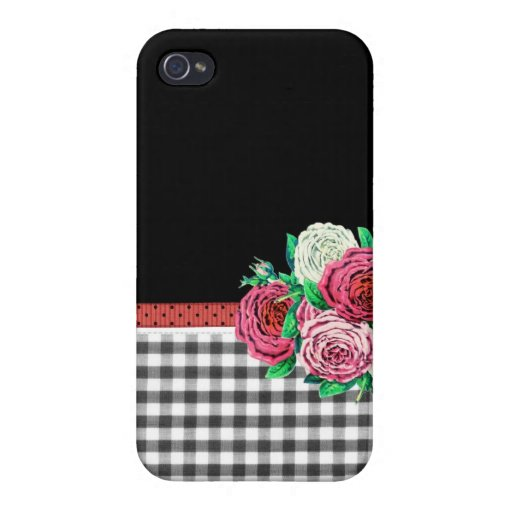 Black Gingham and flowers Covers For iPhone 4