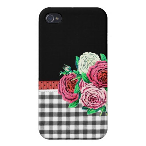 Black Gingham and flowers iPhone 4 Case