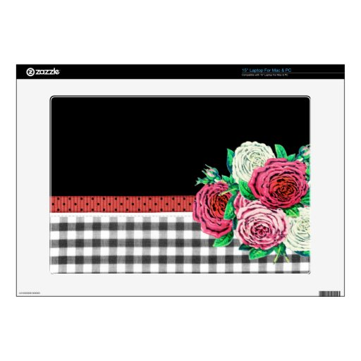 Black Gingham and flowers Laptop Skins