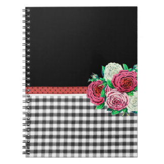 Black Gingham and flowers Notebook