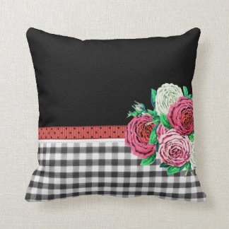 Black Gingham and flowers Pillows