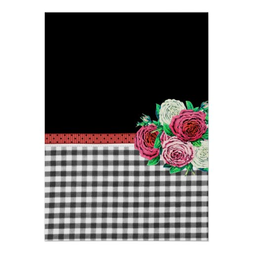 Black Gingham and flowers Posters