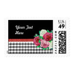 Black Gingham and flowers Stamp