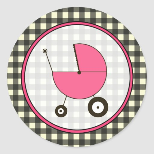 Black Gingham and Pink Baby Carriage Sticker
