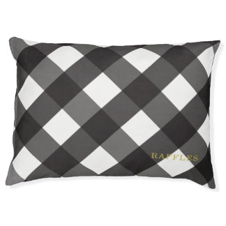 Black Gingham Indoor Dog Bed Small Personalized