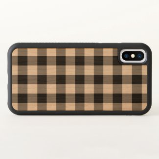 Black Gingham Plaid on Wood Inlay iPhone X Case