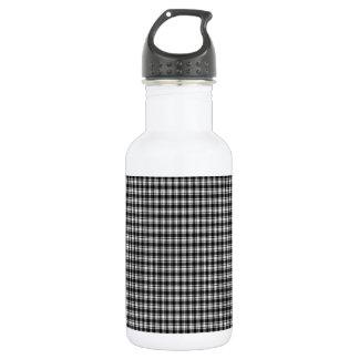 Black Gingham Plaid Water Bottle