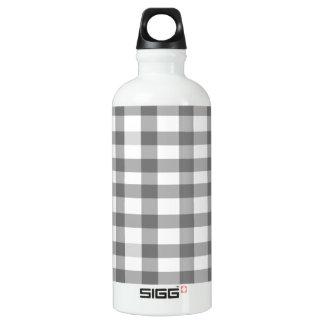 Black Gingham Water Bottle