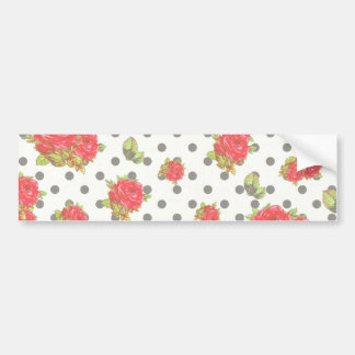 Black Gingham with red roses & dots Bumper Stickers