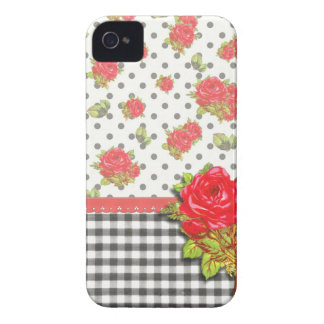 Black Gingham with red roses dots iPhone 4 Case-Mate Cases