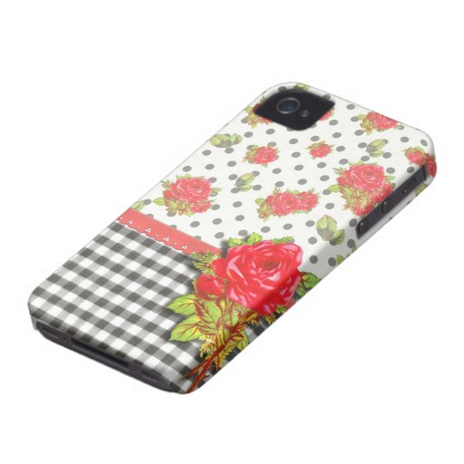 Black Gingham with red roses & dots Blackberry Bold Case