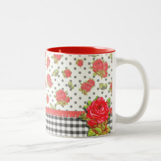 Black Gingham with red roses & dots Coffee Mugs