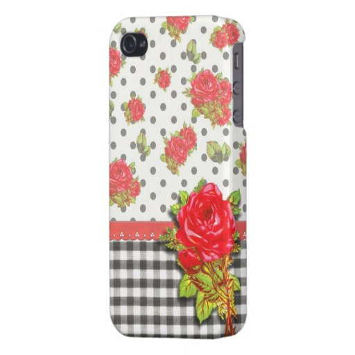 Black Gingham with red roses & dots iPhone 4 Covers