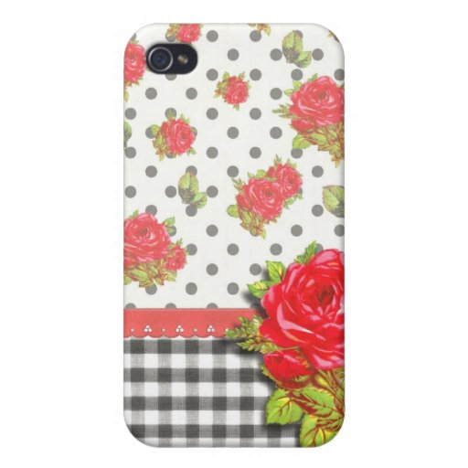 Black Gingham with red roses & dots Cases For iPhone 4