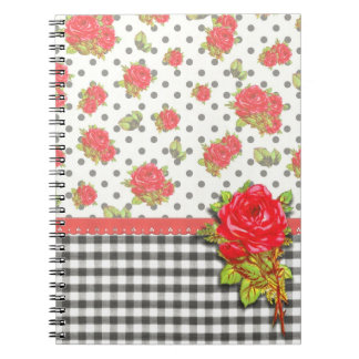 Black Gingham with red roses & dots Spiral Notebooks