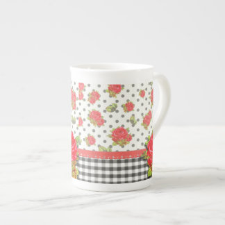 Black Gingham with red roses & dots Porcelain Mugs