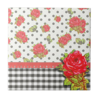 Black Gingham with red roses & dots Tile