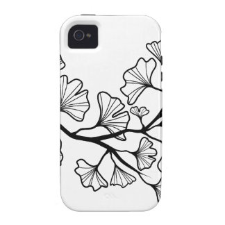 black ginkgo tree with leaves iPhone 4 covers