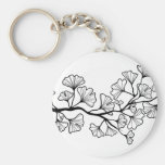 black ginkgo tree with leaves basic round button keychain