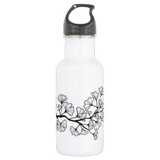 black ginkgo tree with leaves water bottle