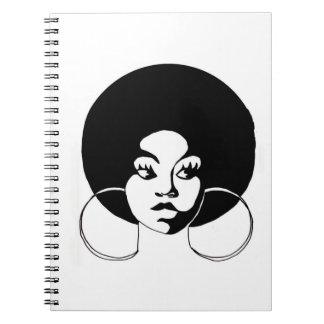 Black Girl Afro Sistah Spiral Ring Journal