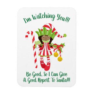 Black Girl Elf Christmas Fridge Magnet