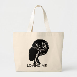 Black Girl, LOVING ME Large Tote Bag