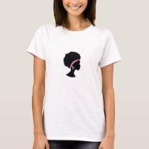 Black Girl Pink Ribbon Breast Cancer, Black Women T-Shirt