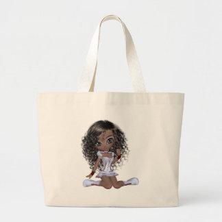 Black girl with green eyes jumbo tote bag