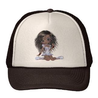 Black girl with green eyes trucker hat
