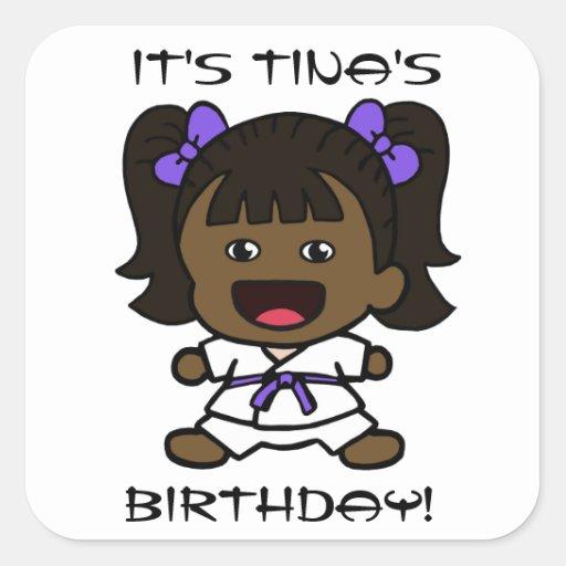 Black Girl's Karate Birthday Sticker