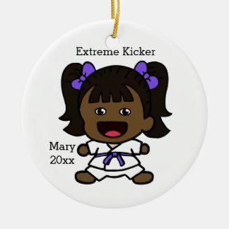 Black Girl's Karate Christmas Ornament