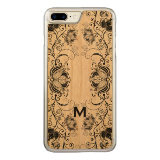 Black Girly Floral Lace Carved iPhone 7 Plus Case