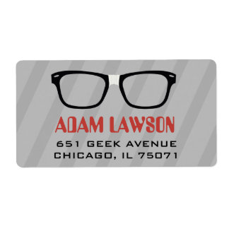Black Glasses Computer Geek Address Labels