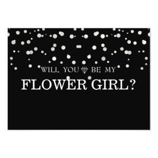 Black Gliter Cute Will You Be My Flower Girl Card