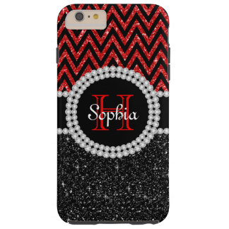 Black Glitter Black Chevron T iPhone 6 Plus Case