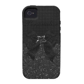 Black Glitter, Bow & Flower iPhone 4/4S Case