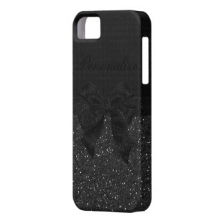 Black Glitter & Bow Personalized iPhone SE/5/5s Case