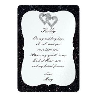 Black Glitter Diamond Hearts Maid Of Honor Card