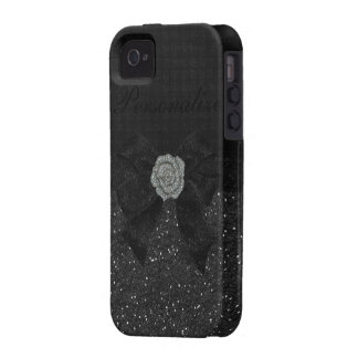 Black Glitter & Diamond Rose iPhone 4/4S Case