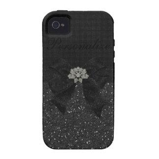 Black Glitter, Diamonds & Bow iPhone 4/4S Case