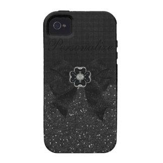 Black Glitter, Flower Bling & Bow Print iPhone 4 Vibe iPhone 4 Cases
