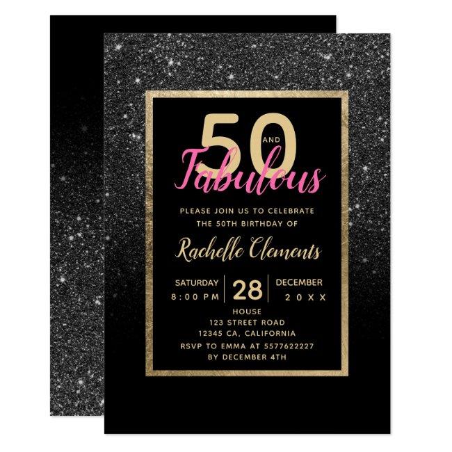 Black glitter gold typography fabulous 50 birthday invitation