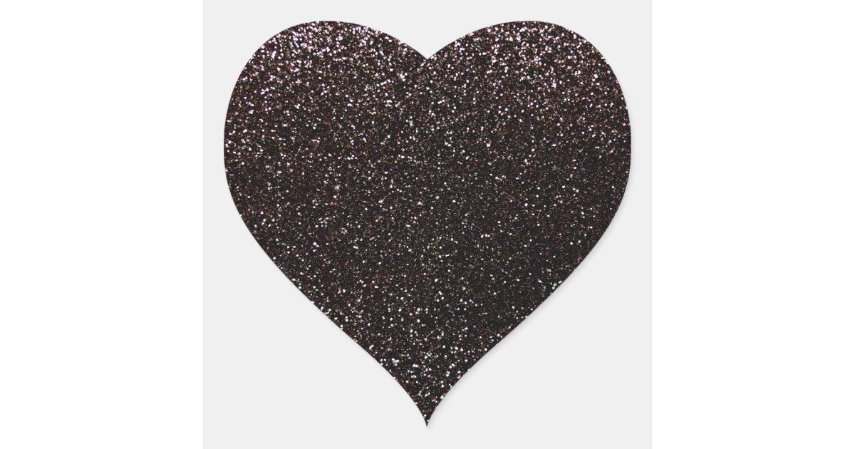 Black Glitter Heart Sticker Zazzle Com