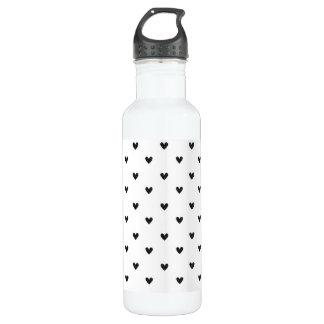 Black Glitter Hearts Pattern 24oz Water Bottle